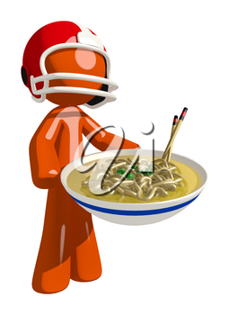 Football player orange man presenting a large bowl of noodles.