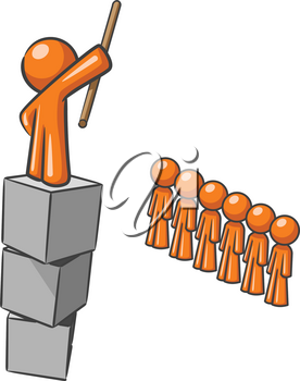 A design mascot standing on blocks shouting to his submissive subjects.