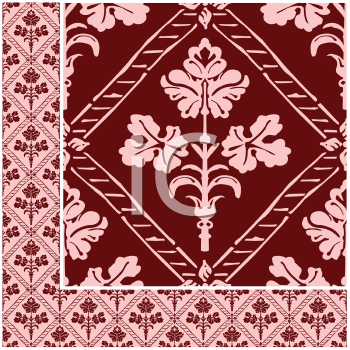Royalty Free Clipart Image of a Floral Background Framed at the Bottom and Down One Side
