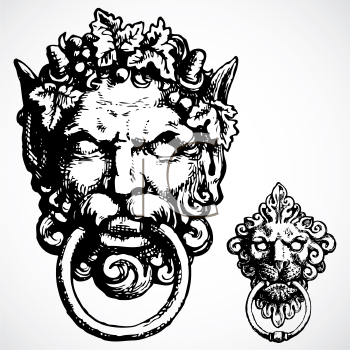 Royalty Free Clipart Image of Two Gargoyle Knockers