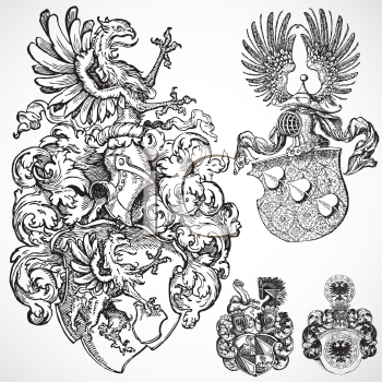 Royalty Free Clipart Image of Gothic Shield Ornaments