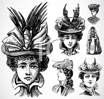 Royalty Free Clipart Image of a Women and Hats