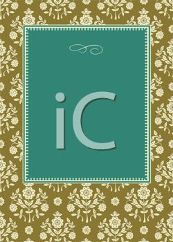 Royalty Free Clipart Image of a Floral Frame Around a Green Centre