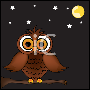 Royalty Free Clipart Image of a Cartoon Owl