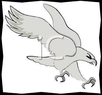 Royalty Free Clipart Image of a Bald Eagle with a Border