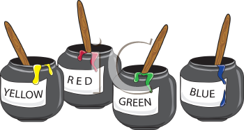 Royalty Free Clipart Image of Pots of Paint
