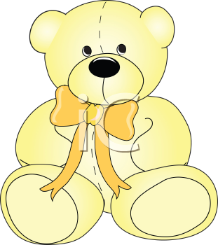 Royalty Free Clipart Image of a Yellow Teddy Bear