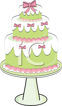 Royalty Free Clipart Image of a Three Tier Cake