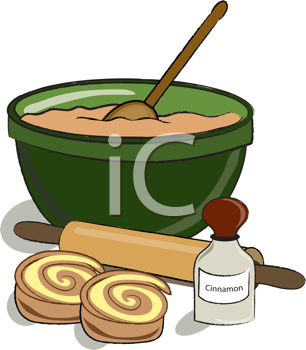 Royalty Free Clipart Image of Baking Cinnamon Rolls