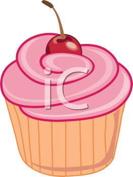 Royalty Free Clipart Image of a Cartoon Cupcake