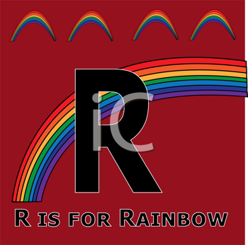 Royalty Free Clipart Image of R is for Rainbow