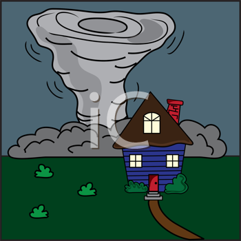 Royalty Free Clipart Image of a House With A Tornado on Its Way