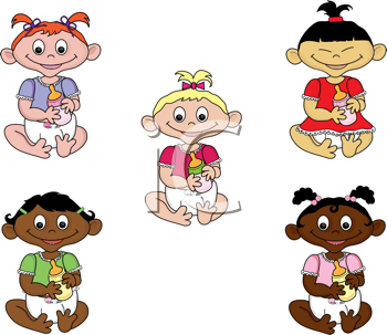 Royalty Free Clipart Image of Baby Girls Holding Bottles