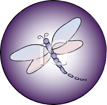 Royalty Free Clipart Image of a Dragonfly Icon