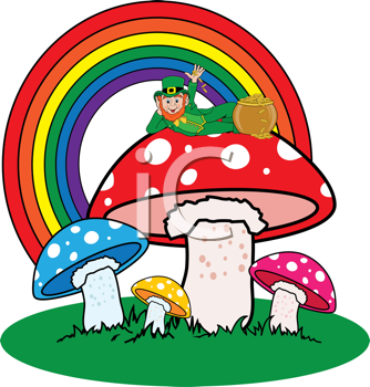Royalty Free Clipart Image of a Leprechaun on Mushrooms With a Rainbow in the Background