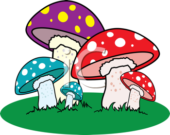 Royalty Free Clipart Image of a Mushroom Patch