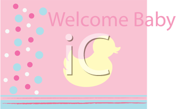 Royalty Free Clipart Image of a Welcome Baby Greeting