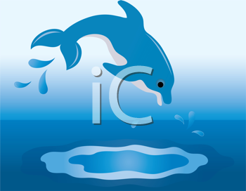 Royalty Free Clipart Image of a Dolphin Jumping Out of the Water