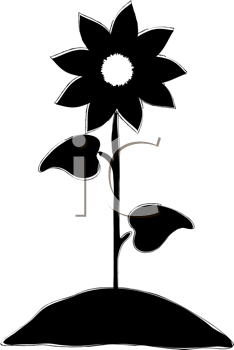 Royalty Free Clipart Image of a Sunflower Silhouette