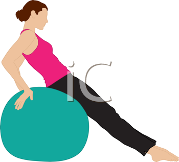 Royalty Free Clipart Image of a Woman Exercising with an Exercise Ball