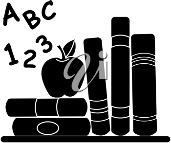 Clip art illustration of a silhouette showing some school books on a desk with a red apple and ABC's and 123's.