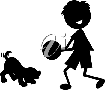 Clip art illustration of a cute little cartoon boy, with stick legs and arms, playing ball.