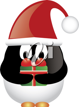 Clip art illustration of a cartoon Christmas penguin wearing a santa hat and holding a christmas gift.