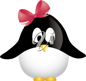 Clip art illustration of a cartoon girl penguin wearing a pink bow.