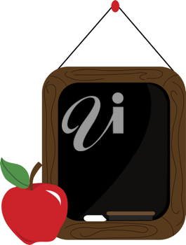 Clip art illustration of a little chalkboard hanging on a string with an apple for teacher.