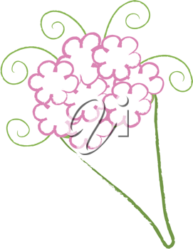 Clip art illustration of a simple bouquet wrapped in florest paper.