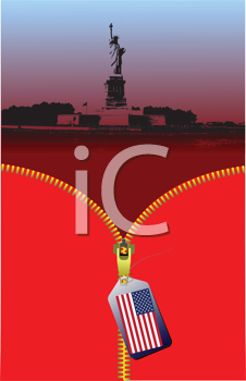 Royalty Free Clipart Image of Unzipping an American Skyline