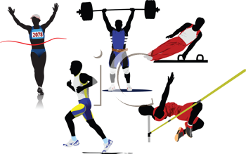 Royalty Free Clipart Image of a Athlete Silhouettes