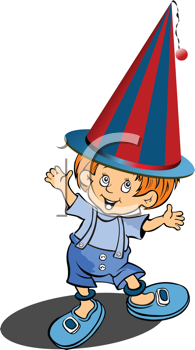 Royalty Free Clipart Image of a Boy Wearing a Clown Hat