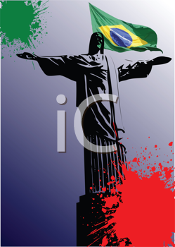 Royalty Free Clipart Image of a Religious Image With a Brazilian Flag