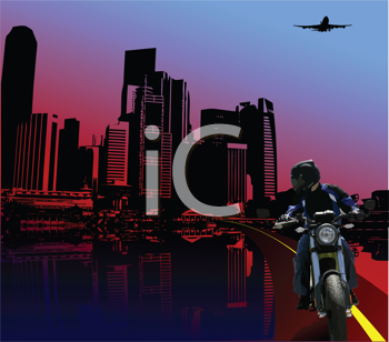 Royalty Free Clipart Image of a Bike Rider in the City at Night
