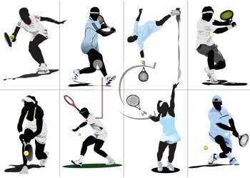 Royalty Free Clipart Image of Eight Tennis Players