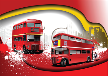 Royalty Free Clipart Image of Double Decker Buses