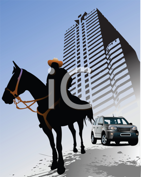 Royalty Free Clipart Image of a Horse and Rider and a Car in Front of a High Rise Building