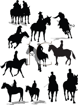 Royalty Free Clipart Image of a Group of Horses and Riders