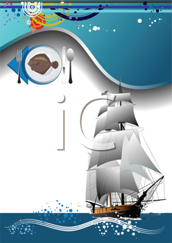 Royalty Free Clipart Image of a Menu With Fish on a Plate and a Ship in the Corner