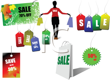 Royalty Free Clipart Image of Sale Labels