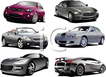 Royalty Free Clipart Image of Six Automobiles