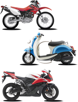 Royalty Free Clipart Image of Three Motorcycles
