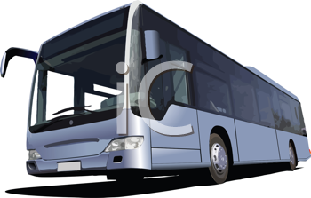 Royalty Free Clipart Image of a Tourist Bus