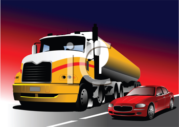 Royalty Free Clipart Image of a Truck and Car