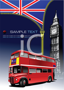 Royalty Free Clipart Image of a Zipper Opening on an English Flag with a Double Decker Bus and Big Ben in the Foreground