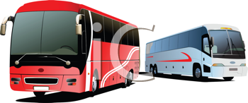 Royalty Free Clipart Image of Two Buses