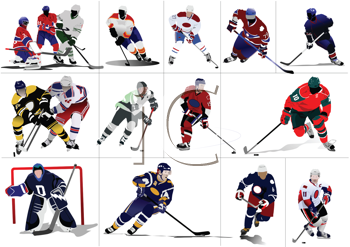 Royalty Free Clipart Image of 16 Hockey Players
