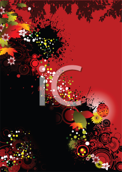 Royalty Free Clipart Image of a Red Autumn Background With Leaves and a Ladybug
