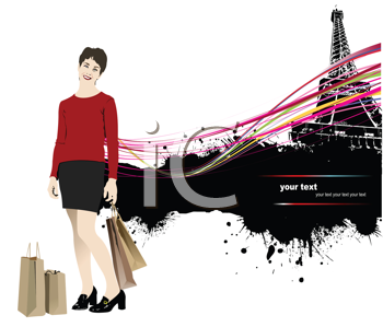 Royalty Free Clipart Image of a Woman With Shopping Bags by the Eiffel Tower
